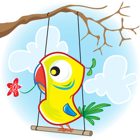 This file represents a colorful parrot that is swinging on the swing with a red flower in the mouth.