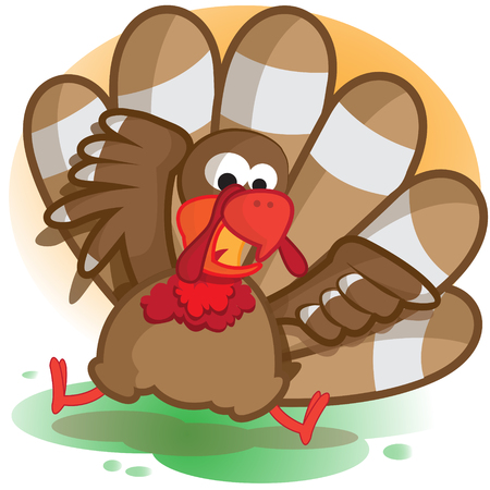 This file represents a funny turkey with a orange and green background. Иллюстрация