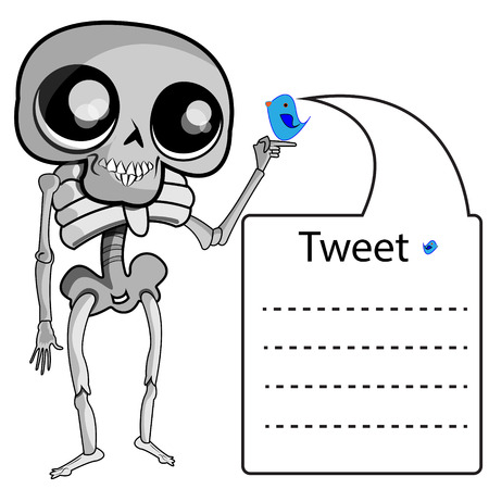 tweet balloon: This file represents a skeleton handing a little twitter bird that is leaving a Twitter message on a balloon.