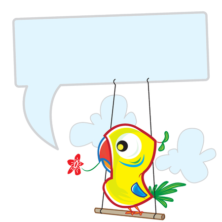 This file represents a colorful parrot that is saying something on a message balloon.