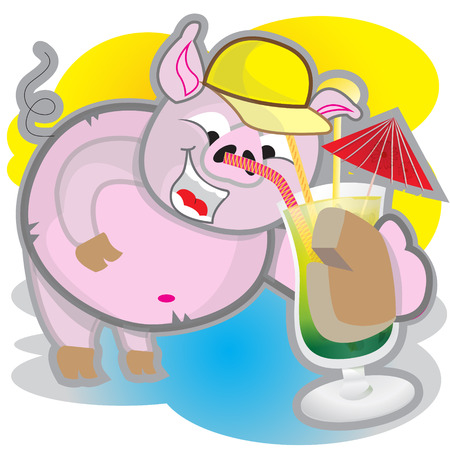 bather: This file represents a smiling pink pig while drinking a concktail. Illustration