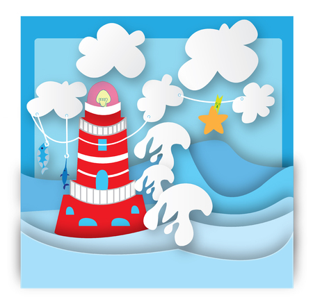 Illustration of lighthouse in the blue background