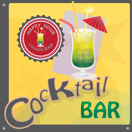 This file represents a sign or a label or a graphic for a cocktail bar or an invitation. There is a cocktail glass, the write cocktail bar and a label with the write lounge bar, happy hour. The prevalent colors are yellow, green and red. Everything is grouped and divided into layers. Иллюстрация