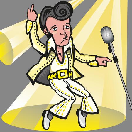 Ta ilustracja przedstawia piosenkarza Elvisa Presleya miednicę, z jego białym garniturem. Plik jest EPS 8, bez przezroczystości, gradient używany w tle i w mikrofonie. Wszystko jest pogrupowane i podzielone na różne warstwy Ilustracje wektorowe
