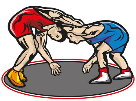 Diese Akte stellt zwei muskulöse junge Kämpfer in einer Begegnung mit einem Trainingsanzug rot und einem anderen blau dar. Alles ist gruppiert und in Ebenen unterteilt. Der Teppich ist in einer anderen Schicht und kann dellated sein. Keine Transparenz verwendet. Kein Farbverlauf verwendet.