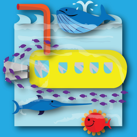 This file represents a yellow submarine boating under the water, with fishes.