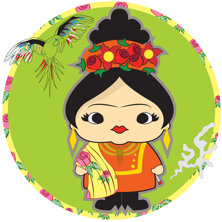 Cute girl on a colorful circle pattern. Illustration