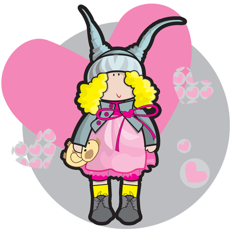 This file represents a doll in a pink dress while holding a teddy bear. Ilustrace
