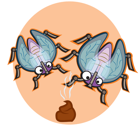 This file represents two colorful flies on a poo Иллюстрация