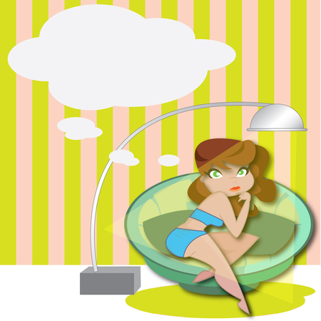 This illustration represents a young cucasican woman while relaxing on a sofa. Woman is thinking as we can notice a speech bubble up in the frame. Illustration