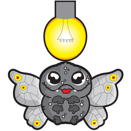 This illustration represents a cartoon moth flying around a bulb.