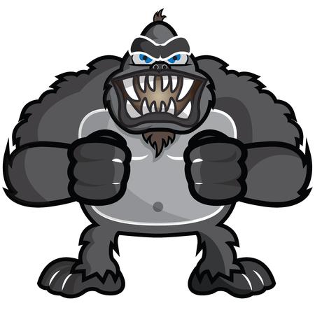 This illustration representz an angry gorilla, or chimpanzee.