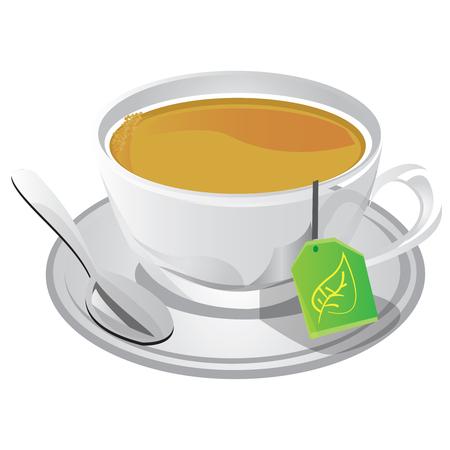 This illustration represents a hot cup of tea.