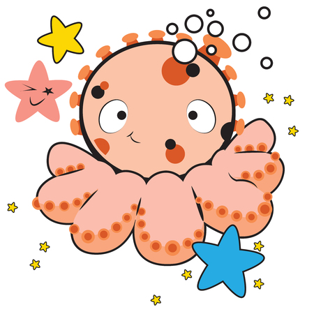 This illustration represents a cool octopus mascot, with some star around and marine water bubble.