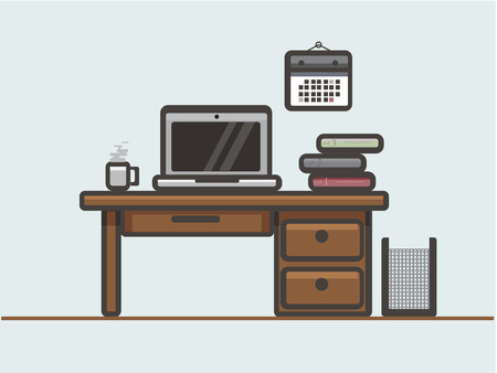 This illustration represents a desk with work tool, as a pc, cup of coffee, and some book. Иллюстрация