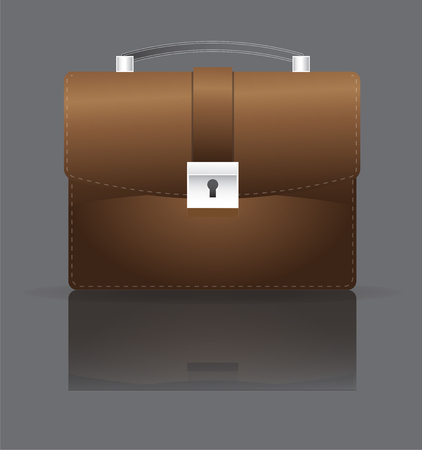 This illustration represents a brown leather briefcase, with a dark background.