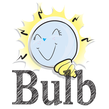 This illustration represents a write bulb with a cartoon bulb.