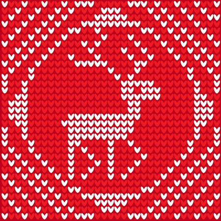 This illustration represents a white knitting reindeer in a Christmas white knitted ball.