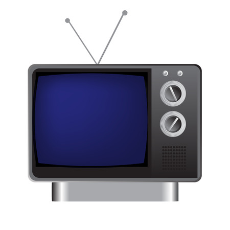 This illustration represents a vintage grey tv. Иллюстрация
