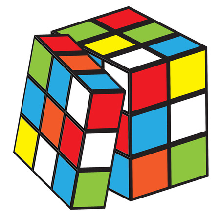 This illustration represents a Rubik cube while playing.