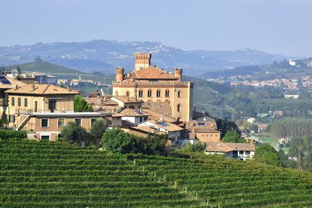 Panorama of vineyards with Barolo castle