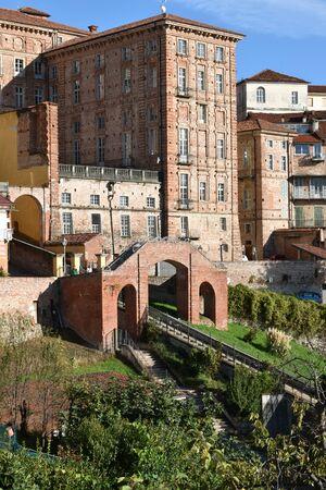 Vertical panorama of medieval buildings of Mondovi Piazza