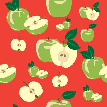 Apples seamless pattern with green apple and a red background. Imagens - 140119690