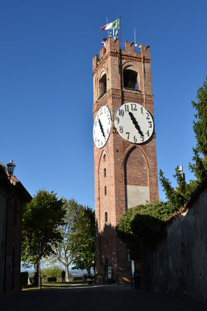Vertical view of tower with clock of Mondovi Piazza Editorial
