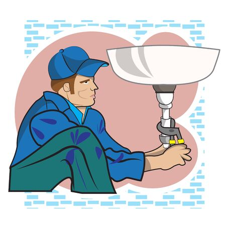 Plumber working in a bathroom Illustration