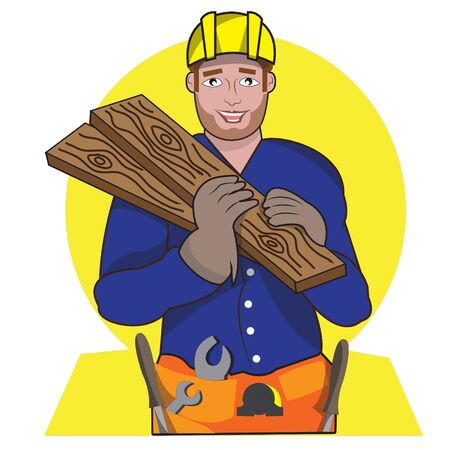 Woodworker holding wood with yellow background