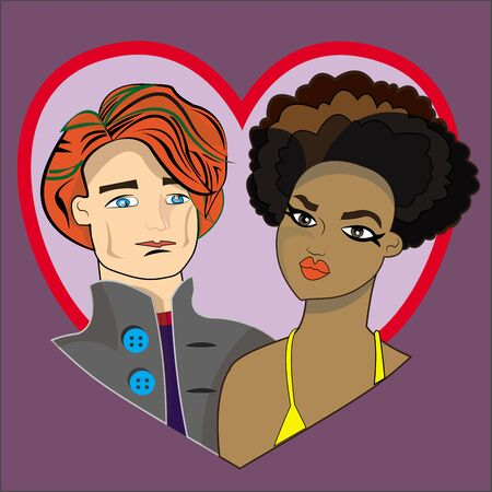 This illustration represents a Valentine's couple interracial. Blue background with a heart frame from which pop up the couple. Imagens - 139631717