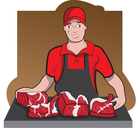 This illustration represents a butcher with working uniform presenting meat for sale.