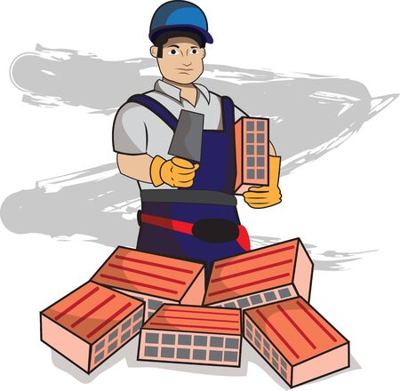 This illustration represents a bricklayer while holding a brick and a spatula with some bricks below. Ilustracja