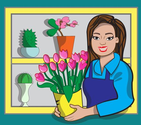 This illustration represents a florist while selling tulips in her flower shop. Ilustração