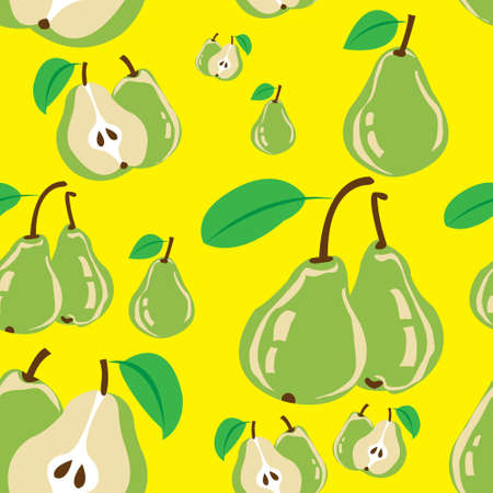 This image represents a seamless pattern of some green pear with yellow background.