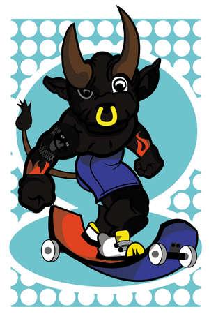 This image represents a bull while skating