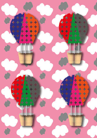 Colorful hot air balloons with skies in the backgound, ideal for children