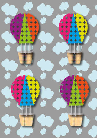 Colorful hot air balloons with skies in the backgound, ideal for children Imagens - 166208294