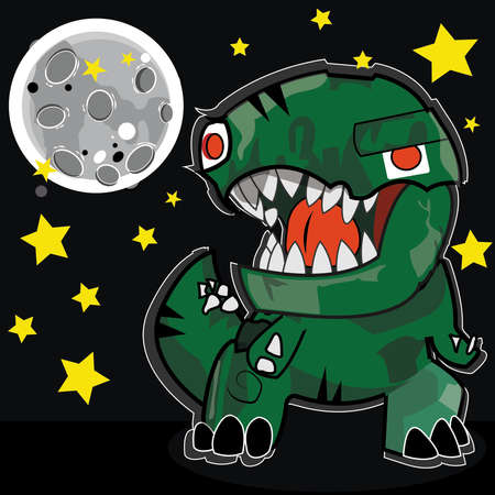 A funny cartoon green dinosaur