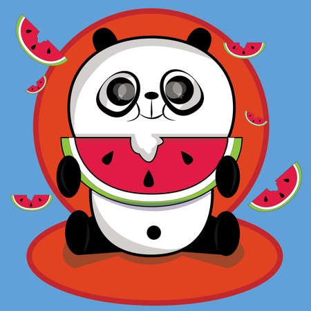 This image represents a funny panda while eating watermelon