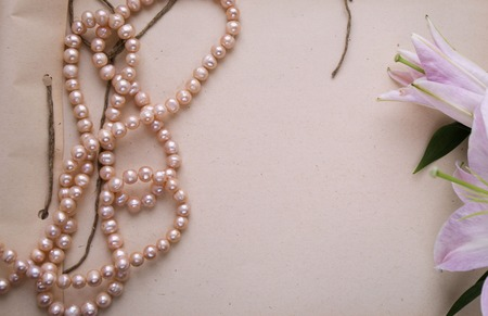 pink pearl: Handmade craft notebook with lily and pink pearl