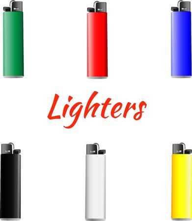 encendedores: Conjunto de iconos de colores encendedores. ilustración vectorial