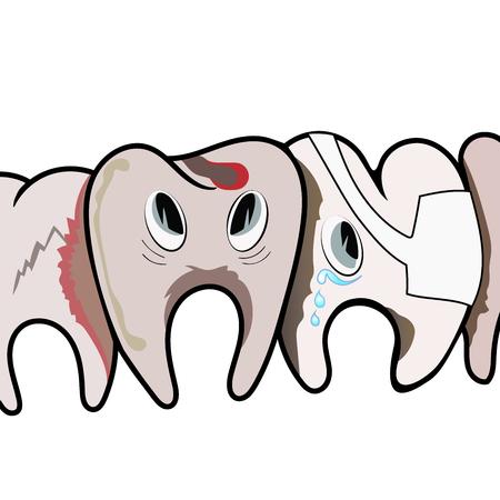 dientes sucios: Sad dientes sucios podridos. Ilustración del vector. Vectores