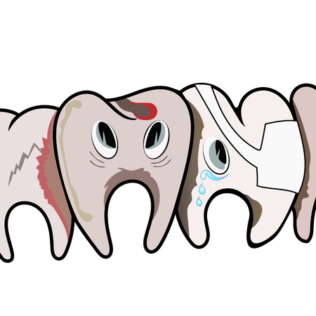 dirty teeth: Sad rotten dirty teeth. Vector illustration.