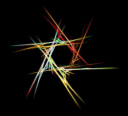 six point: Colorful fractal star of David. Vecor illustration