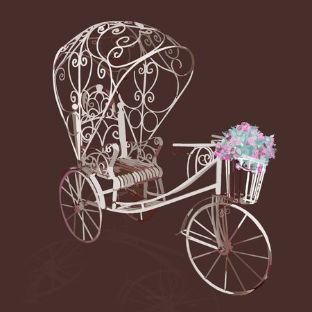 tricycle: Elegance retro white tricycle with flowers. Vector illustration