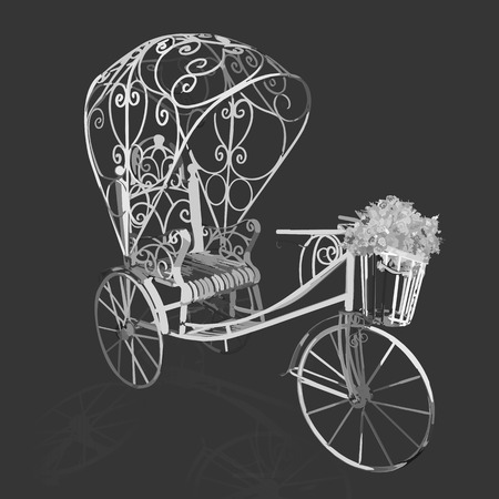 chariot: Elegance retro black and white cycle. Vector illustration
