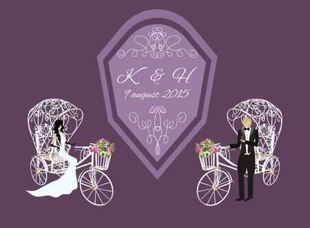 tricycle: Vector invitation. Elegance vintage bride and groom on a white tricycle with flowers Illustration