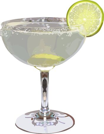 Glass of alcoholic cocktail margarita with lime. Vector illustration Иллюстрация
