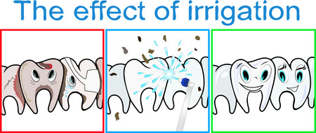 irrigation: Effect of teeth irrigation. Vector illustration.